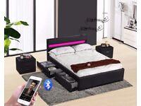 Black Double Music, Storage, Bluetooth, USB, LED, Leather Bed - optional memory foam mattress