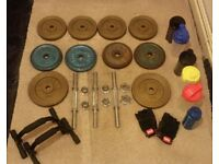 Cast iron weight discs plates free weights (4kg 5kg 6kg) dumbbells gloves push up bars