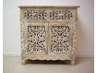 Beautiful solid teak wood chest of draw white and cream style hand painted