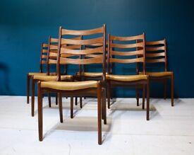 6 Danish Mid Century Modern Teak Dining Chairs Retro Vintage 60s