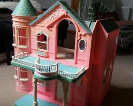 Barbie dolls house, with balcony, bathtub, kitchen, wardrobe and a lift