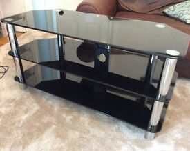 Glass TV stand with Chrome legs