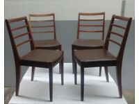 4 Dark Tan (Ercol style) Ladder Backed Dining Chairs