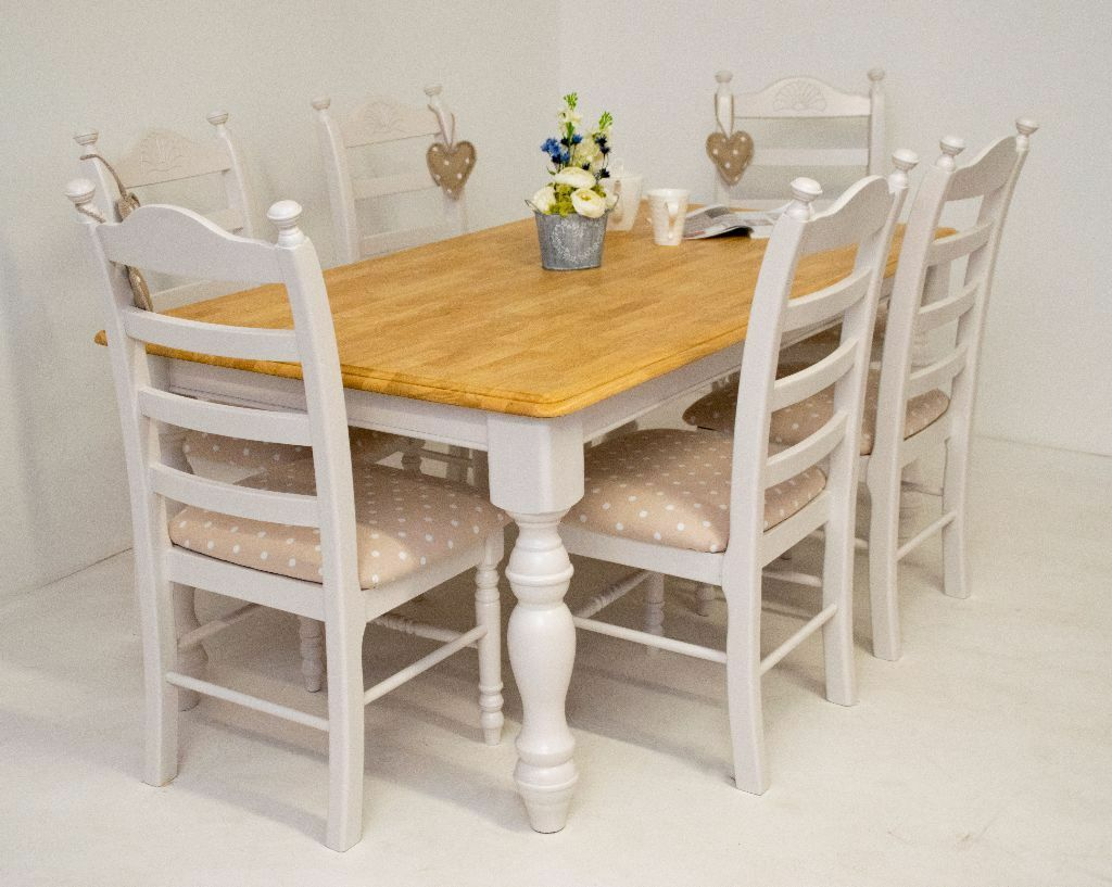 Beautiful Shabby Chic Farmhouse Oak Dining Table And 6