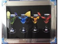 Liquid art mirror framed pictures clocks new colours