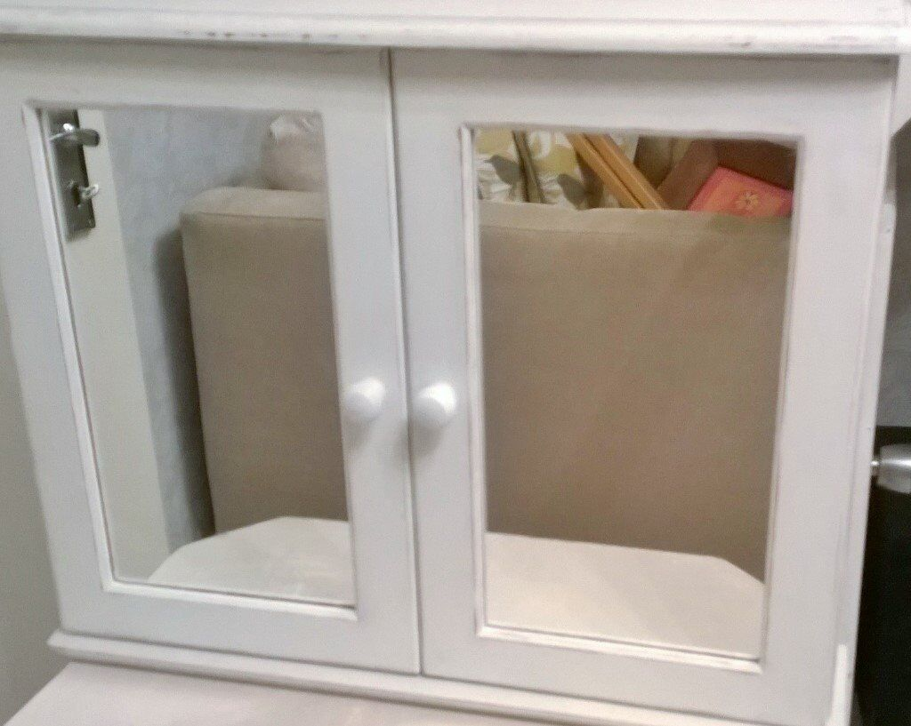 Shabby Chic Bathroom Cabinet Refurbished In Chalk White With Decorative  Paper Inside