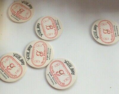 12 Vtg MILK BOTTLE CAPS - Beauchemin Dairy RAW MILK 1940's NOS