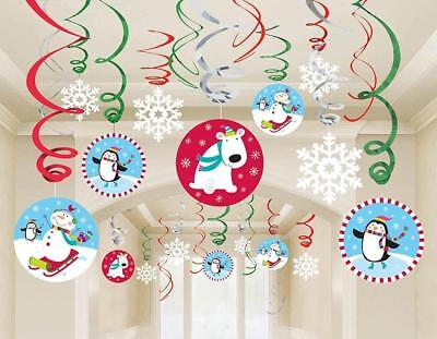 Winter Animals Christmas Holiday Party Theme Room Hanging Swirl Decorations - Christmas Theme Party Decorations