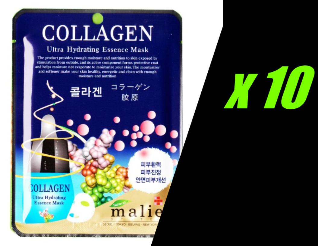 10 X Korea Beauty Cosmetic [Malie] COLLAGEN Face Mask Pack Sheet 0.88oz 25g