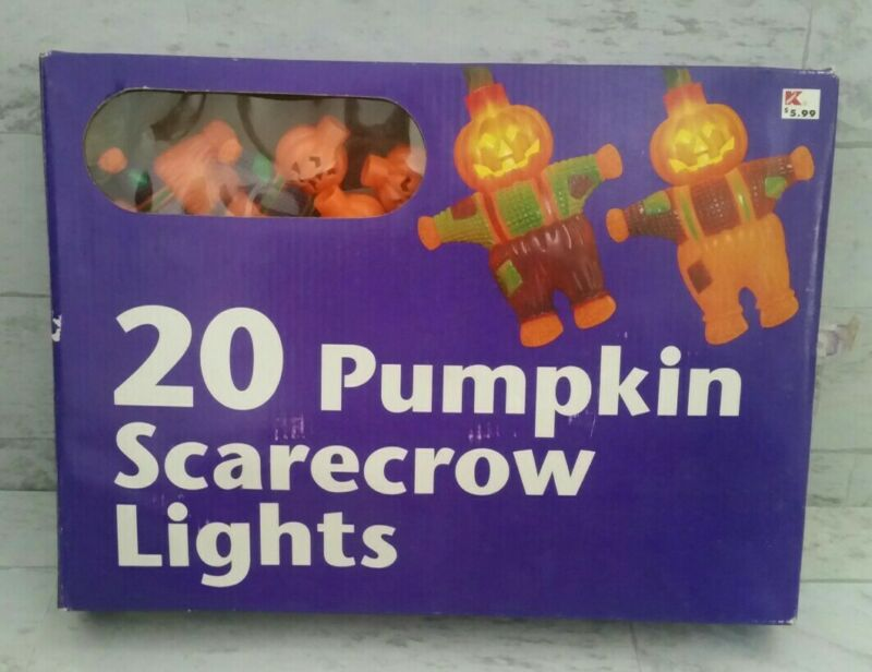 Vintage KMart 20 Pumpkin Scarecrow String Lights Plastic Blow Mold Halloween New