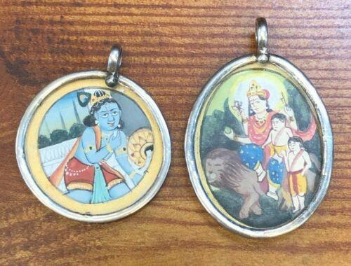 Vintage Shiva and Parvati Silver Pendants