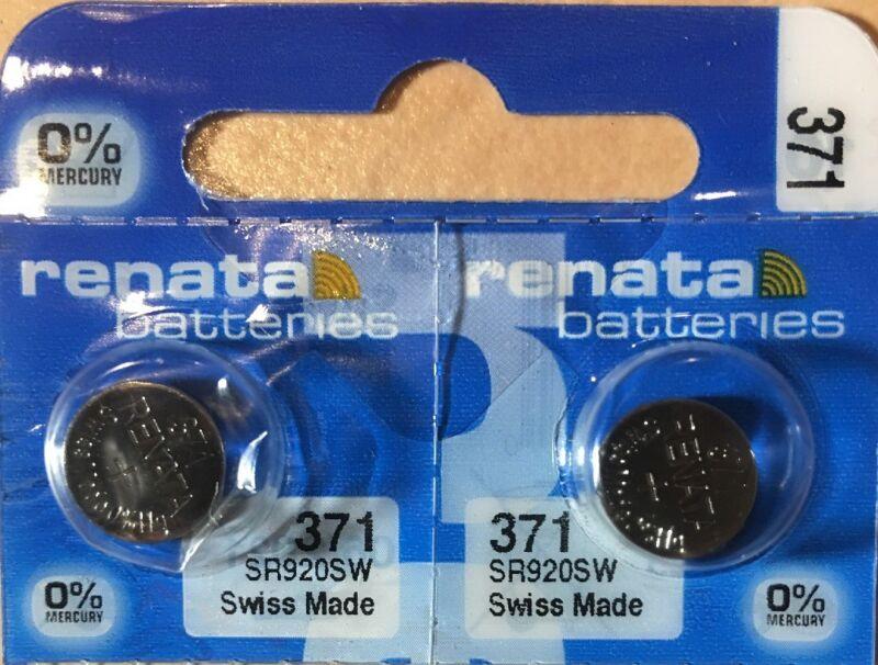 2 - Renata 371 Battery SR920SW  Silver Oxide 2Qt Authorized Seller. Exp 10/23