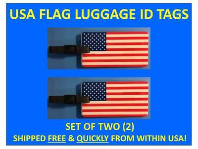 TWO [2] USA FLAG AMERICAN FLAG LUGGAGE ID BAG TAG with BUS. CARD INSERT & STRAP