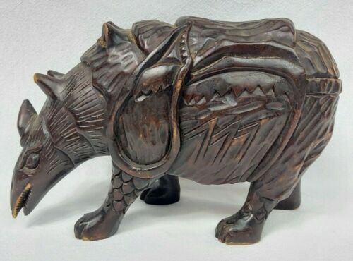 "VINTAGE ASIAN CARVED WOOD RHINOCEROS? 8"" TALL"
