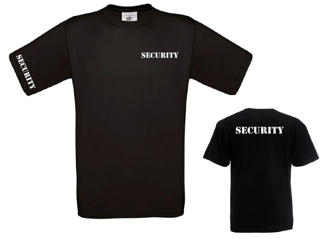SECURITY T-Shirt - Sicherheitsdienst - Brust - Rücken -  Ärmeldruck - Stencil