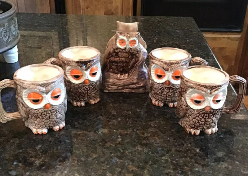5 Pc SET VINTAGE CERAMIC OWL MUGS AND NAPKIN HOLDER HAND PAINTED 1980