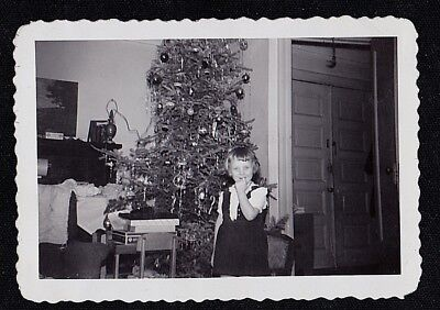 Antique Photograph Adorable Little Girl Standing in Front of Christmas Tree