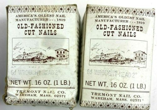 Almost 2 LBS.OF VINTAGE-TREMONT NAIL DECORATIVE WROUGHT HEAD CUT NAILS 6d 2""