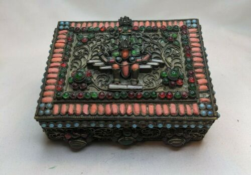 Early 20th century Tibetan or Nepalese brass filigree box turquoise coral