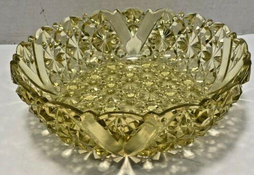"YELLOW CUT GLASS 9"" SERVING BOWL W/ STARBURST DESIGN"