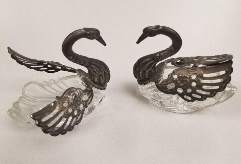 Salt Cellar Sterling Silver Crystal Figural Swan Antique 2 pcs