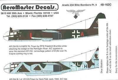 1:48 Arado 234 Blitz Bombers Pt II AeroMaster Model Decals Sheet NOS 48-162C
