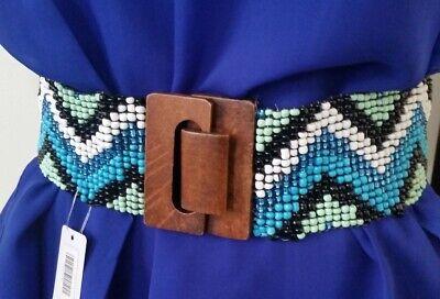 Beaded Wide Belt wood clasp fastener Blue Mint Turquoise Black Zigzag N3-1/22 Turquoise Beaded Belt