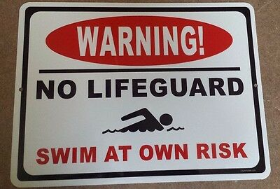 Risk Sign - No Lifeguard on Duty Swim At Own Risk, NO RUST POOL SIGN, safety, pool rules,