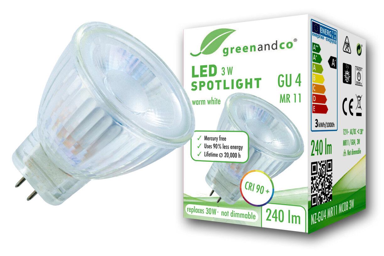LED Spot CRI 90+ ersetzt 30W GU4 MR11 3W 240lm warmweiß 38° 2 Jahre Garantie