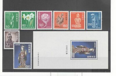 Japan 1974-76 Art Statue Buddha Etc Mint NH Stamps & S/S (Face Value 3200y)