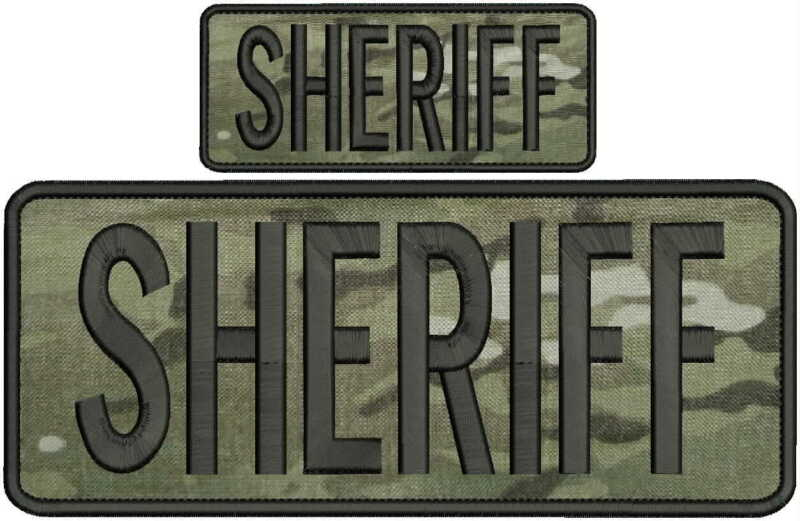 sheriff embroidery patch 4x10 and 2x5 hook on back multicam