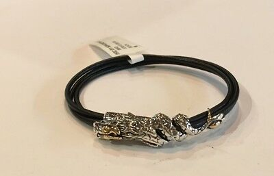 New JOHN HARDY Legends Dragon 18k Gold Silver Black Leather Bracelet Size M