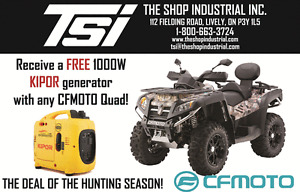 FREE 1000W GENERATOR WITH PURCHASE OF CF MOTO QUAD OR ARGO