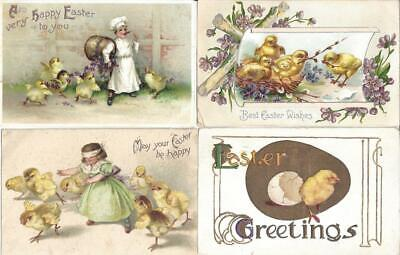 Lot of 50 Vintage Linen Prelinen EASTER HOLIDAY Greetings with CHICKS Postcards