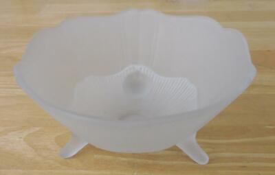 "Frosted Glass 3-Footed 8"" Bowl w/Scalloped Edge, Vintage"