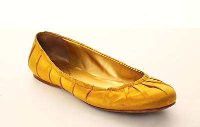 PRADA Chartreuse Yellow Pleated Satin Round Slip-Ons Ballet Flats Shoes (Pleated Satin Flat)