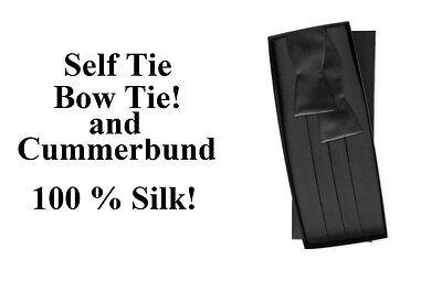 NEW Men's Black 100% Silk Cummerbund  Self Tie Bow tie Tuxedo Tux Formal Set