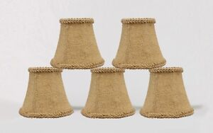 Burlap Chandelier Lamp Shades Clip On Bell with Jute Braid Trim 3x5x4.5