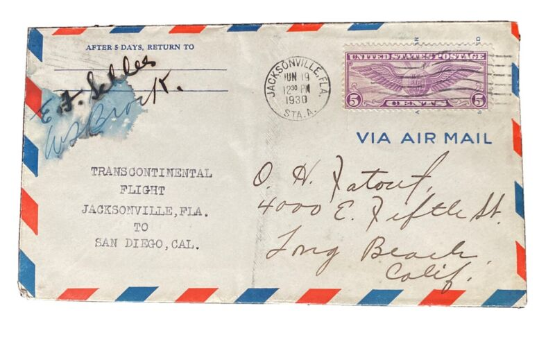 1930 Flight Cover Signed By Pilots William Brock And EF Schlee - Detroit-Tokyo