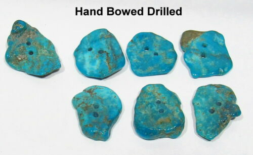 RARE 7 Nice Set Old Pawn 1930s Navajo Hand Bow Drilled 91tcw Turquoise Buttons