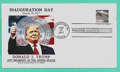 DONALD TRUMP 2017 INAUGURATION COVER , FULL COLOR , GRAEBNER CACHET-FLAG STAMP