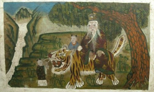 Korean Gouache on paper Minhwa Sansin Sansido Sansin w/ tiger ca. 18-19th c.
