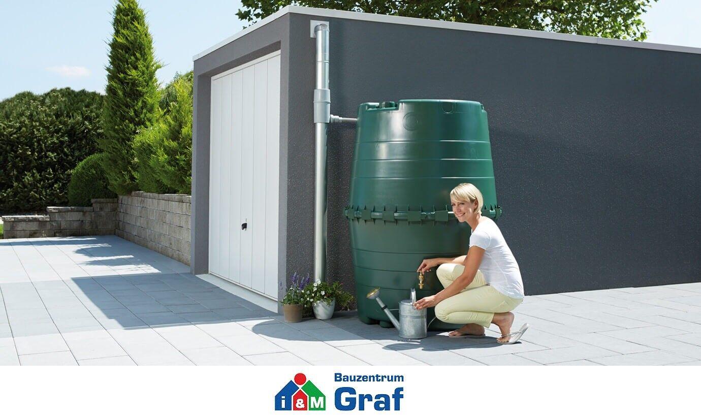 Graf TOP-TANK Wassertank Regentonne in dunkelgrün, 1.300 Liter /#323001
