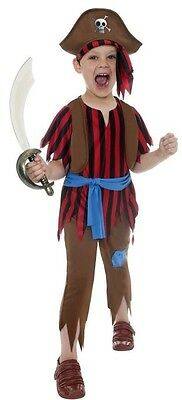 Boys Pirate Costume Buccaneer Captain Top Shirt Pants Hat Halloween Child Kids