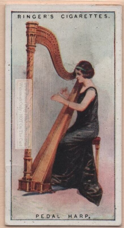 Pedal Or Concert Harp Musical Instrument 1920sTrade Ad Card