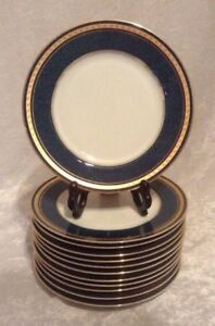 Mikasa IMPERIAL LAPIS Grande Ivory SALAD / LUNCHEON PLATES L2826 7.5