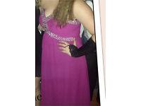 Purple full floor length strapless bridesmaid/ prom/ masquerade dress size 14 corset back