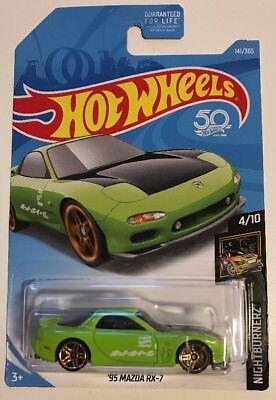 Hot Wheels 2018 Nightburnerz '95 MAZDA RX-7 * Green * Super Fast Shipping * 26A