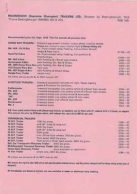 Richardson Trailers 1978 UK Market Prices & Accessories Brochure