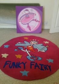 Girls Funky Fairy Rug and Canvas picture set
